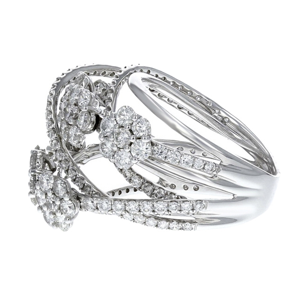Diamond Flower Crossover Ring In 18K White Gold (3.83 Ct (View 12 of 15)