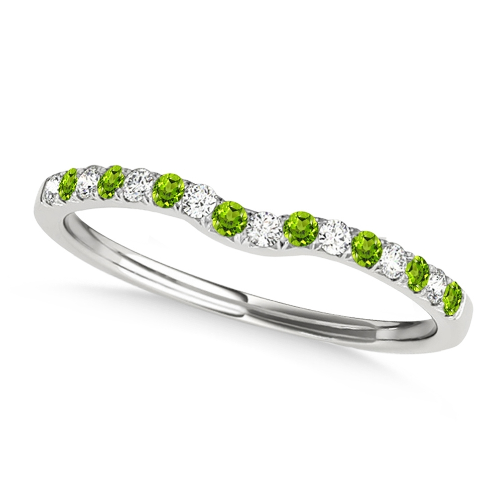 Diamond & Peridot Contoured Wedding Band 14K White Gold  (View 3 of 15)