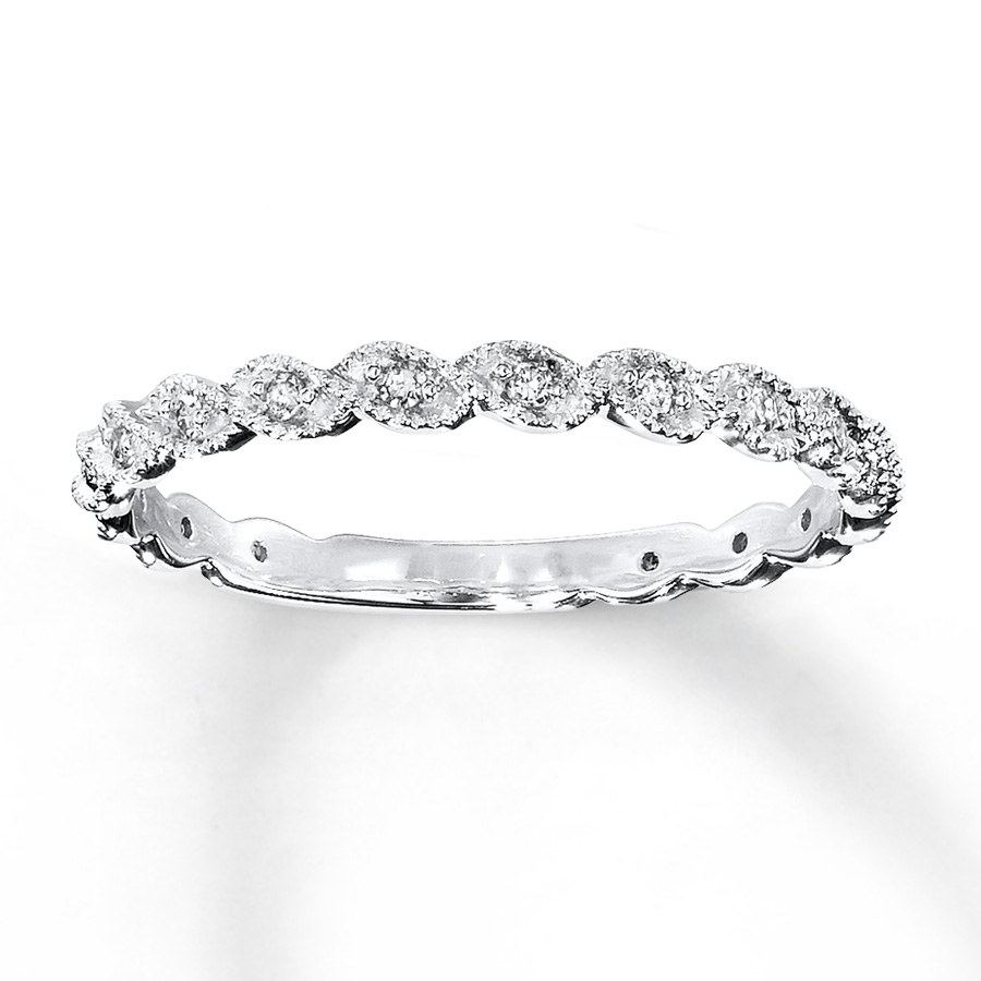 Diamond Ring 1/10 Ct Tw Round Cut 14K White Gold – 531849002 – Kay With Regard To Newest Round And Baguette Diamond Anniversary Bands In 14K White Gold (View 10 of 15)