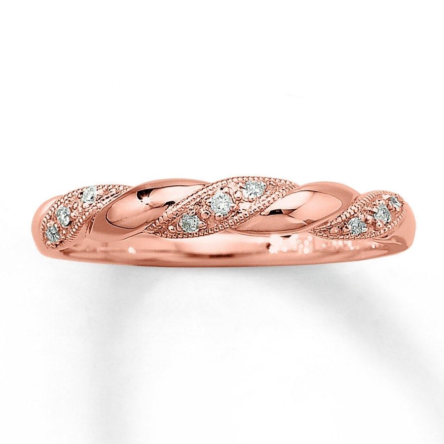Diamond Ring 1/20 Ct Tw Round Cut 10K Rose Gold – 531796807 – Kay Regarding Most Recent Diamond Twist Anniversary Bands In 10K Rose Gold (View 4 of 15)
