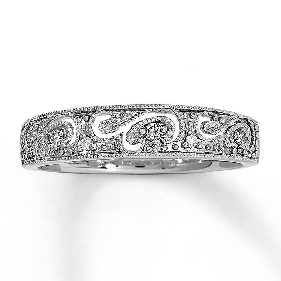 Diamond Ring 1/20 Ct Tw Round Cut 10K White Gold | All Things Throughout Newest Diamond Wave Vintage Style Anniversary Bands In 10K White Gold (View 6 of 15)