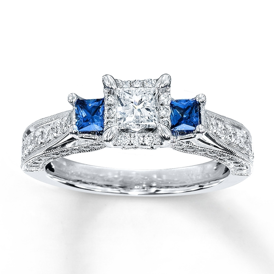 Diamond/sapphire Ring 1 Ct Tw Princess Cut 14k White Gold For 2017 Princess Cut Blue Sapphire And Diamond Five Stone Rings In 14k White Gold (View 5 of 15)