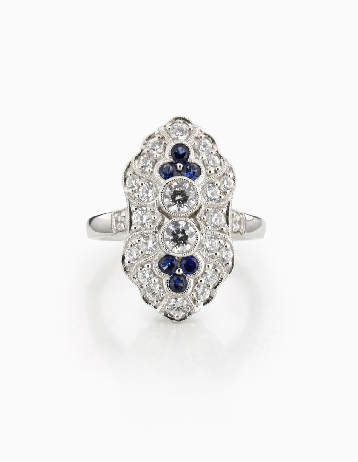 Diamond & Sapphire Vintage Style Ring – Thejewelleryworkshop For Best And Newest Diamond Vintage Style Rings (View 2 of 15)