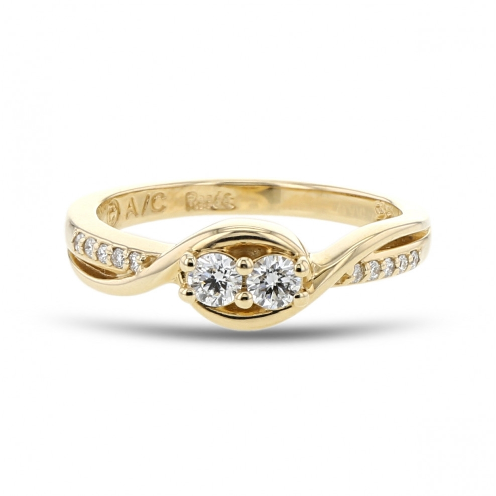 Diamond Two Stone Swirl Band Ring, 14K Yellow Gold,  (View 6 of 15)
