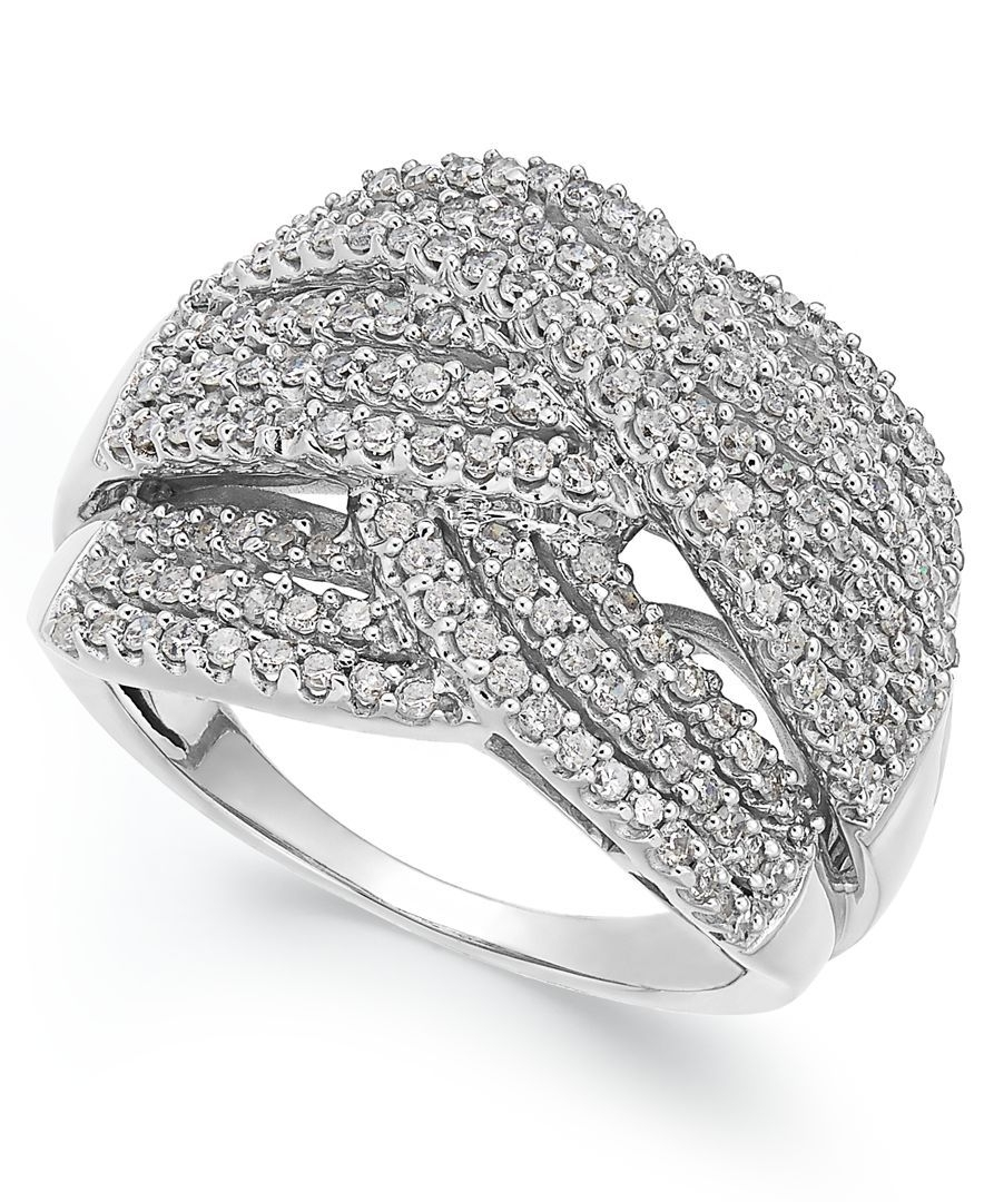 Diamond Wave Ring In 10K White Gold (1 Ct. T.w.) | White Gold Inside Most Popular Diamond Wave Vintage Style Anniversary Bands In 10K White Gold (Gallery 2 of 15)
