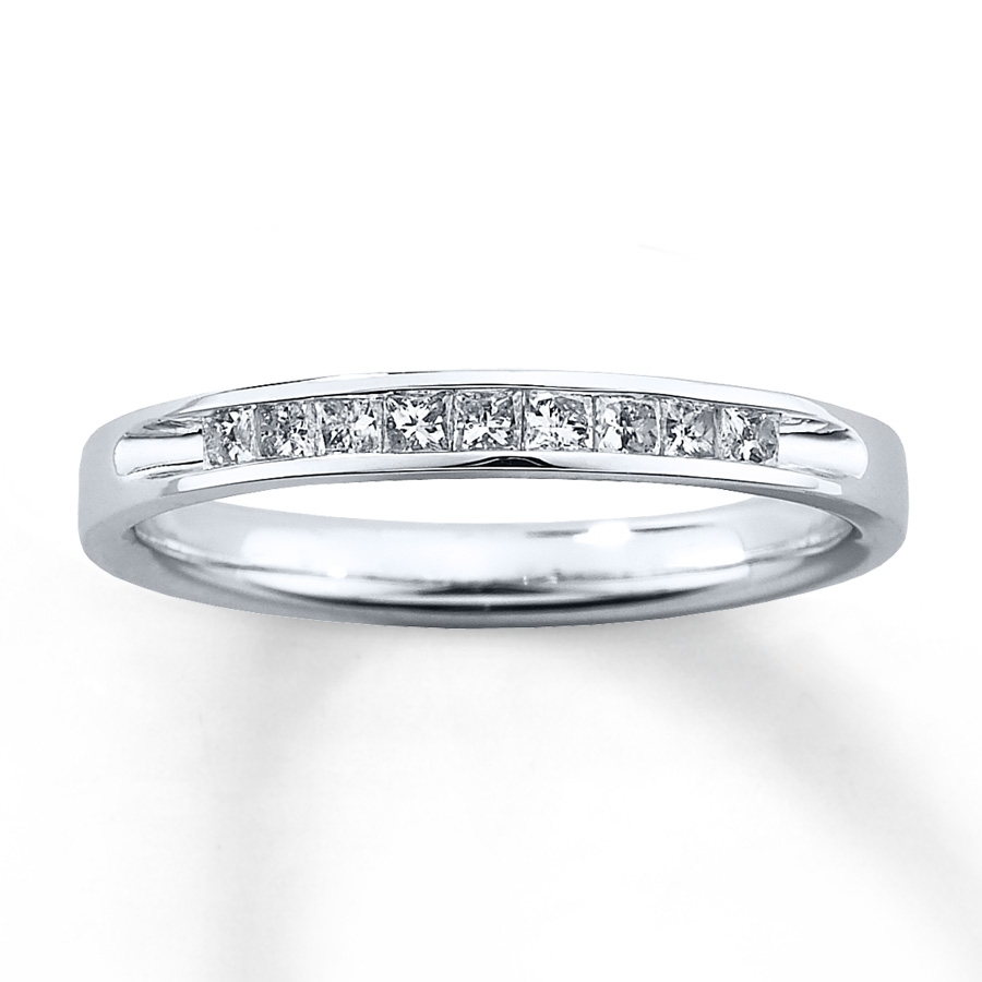 Diamond Wedding Band 1/4 Ct Tw Princess Cut 10k White Gold In Most Up To Date Diamond Channel Set Anniversary Bands (View 9 of 15)