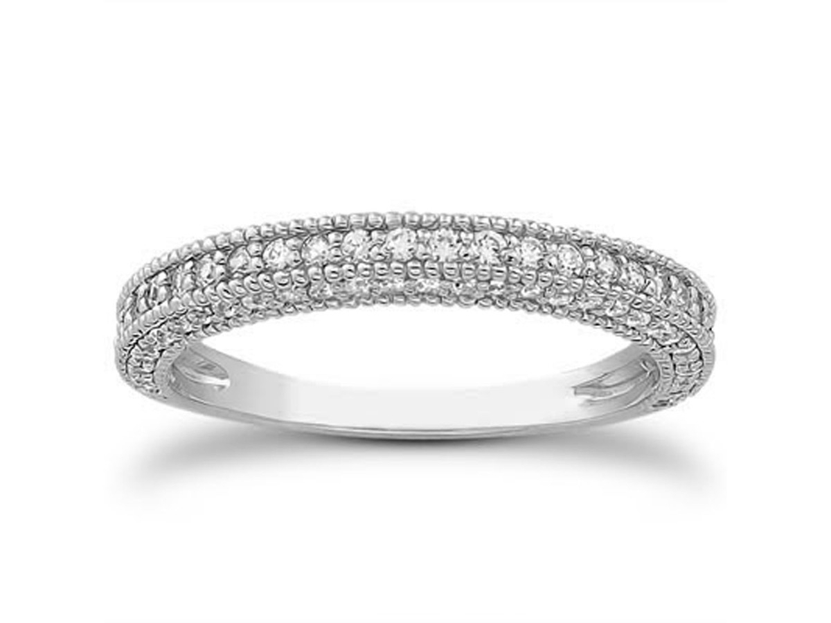 Diamond Wedding Bands: Diamond Wedding Band With Milgrain For Most Up To Date Diamond And Milgrain Anniversary Bands In 10K White Gold (View 10 of 15)