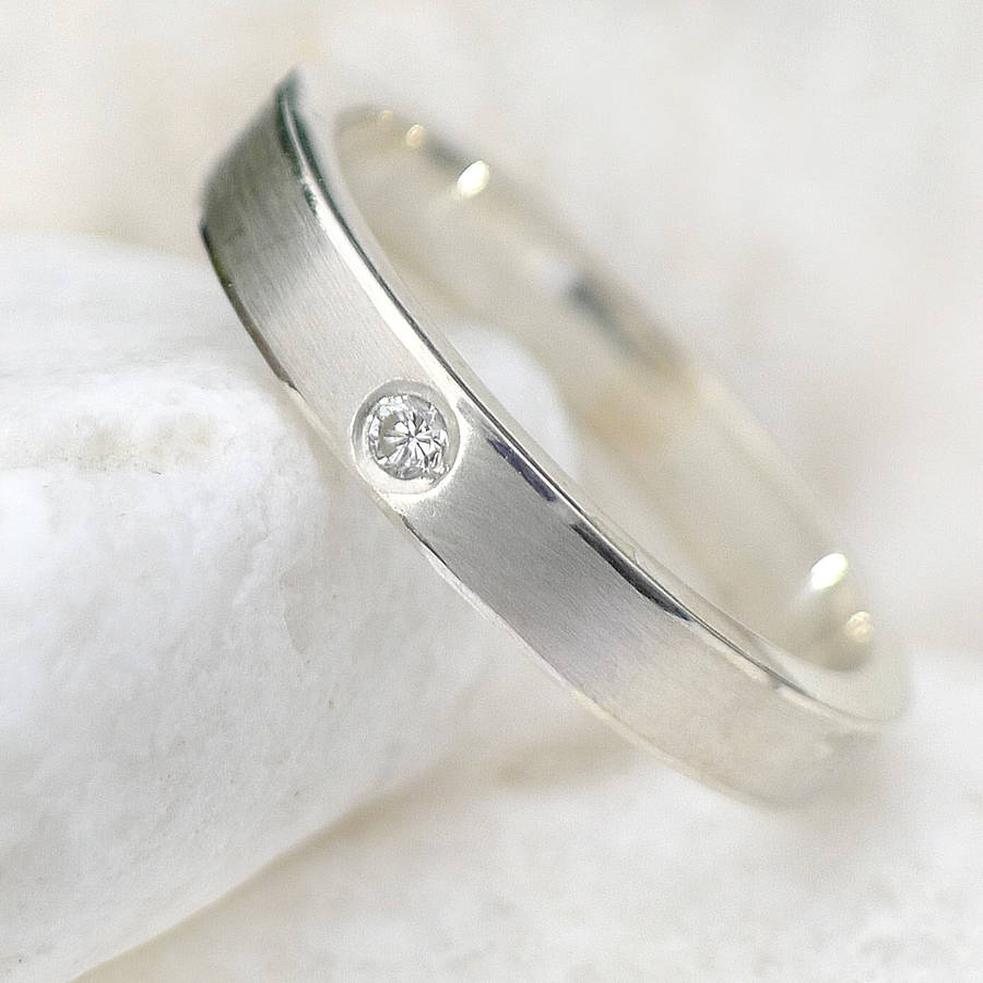 Featured Photo of Diamond Anniversary Bands In Sterling Silver