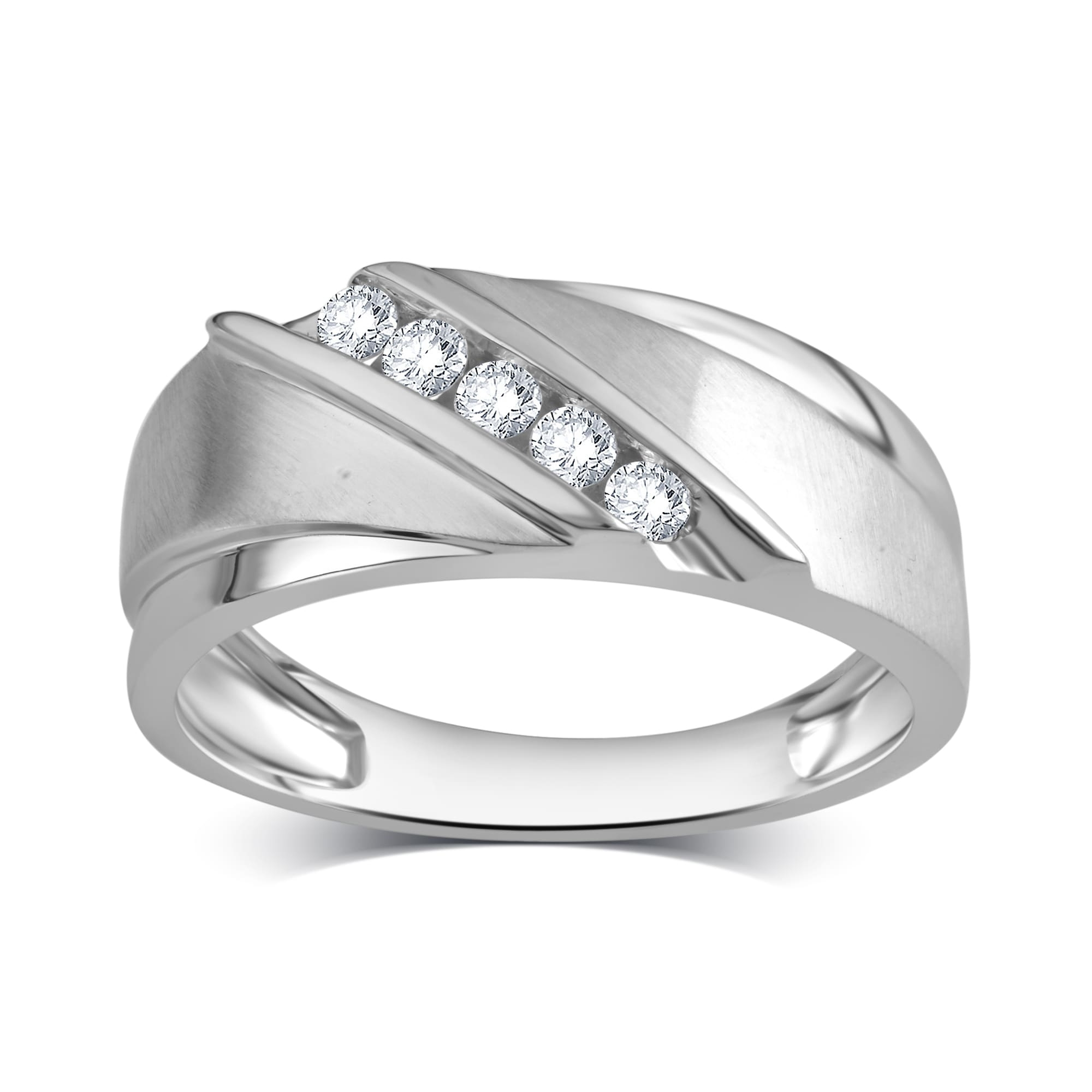 Divina 10K White Gold Men's 1/4Ct Tdw White Diamond Engagement Band In Best And Newest Diamond Three Stone Slant Wedding Bands In 10K White Gold (Gallery 15 of 15)
