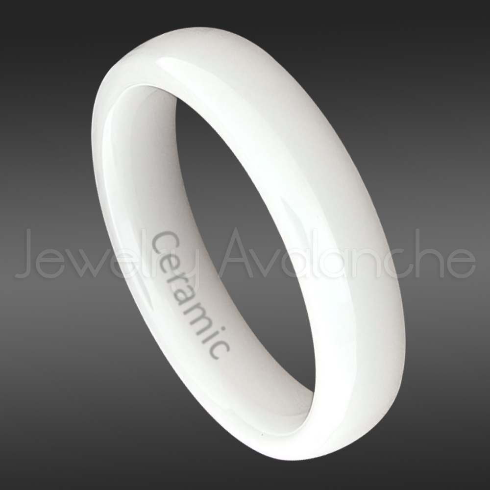 Dome White Ceramic Wedding Band – 5Mm Polished Finish Comfort Fit Within Current White Ceramic Wedding Bands (Gallery 2 of 15)