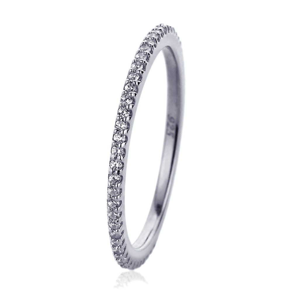 Double Accent | Sterling Silver Wedding Ring Rhodium Plated, Cz Pave Intended For Newest Diamond Wedding Bands In Sterling Silver With Yellow Rhodium (View 5 of 15)