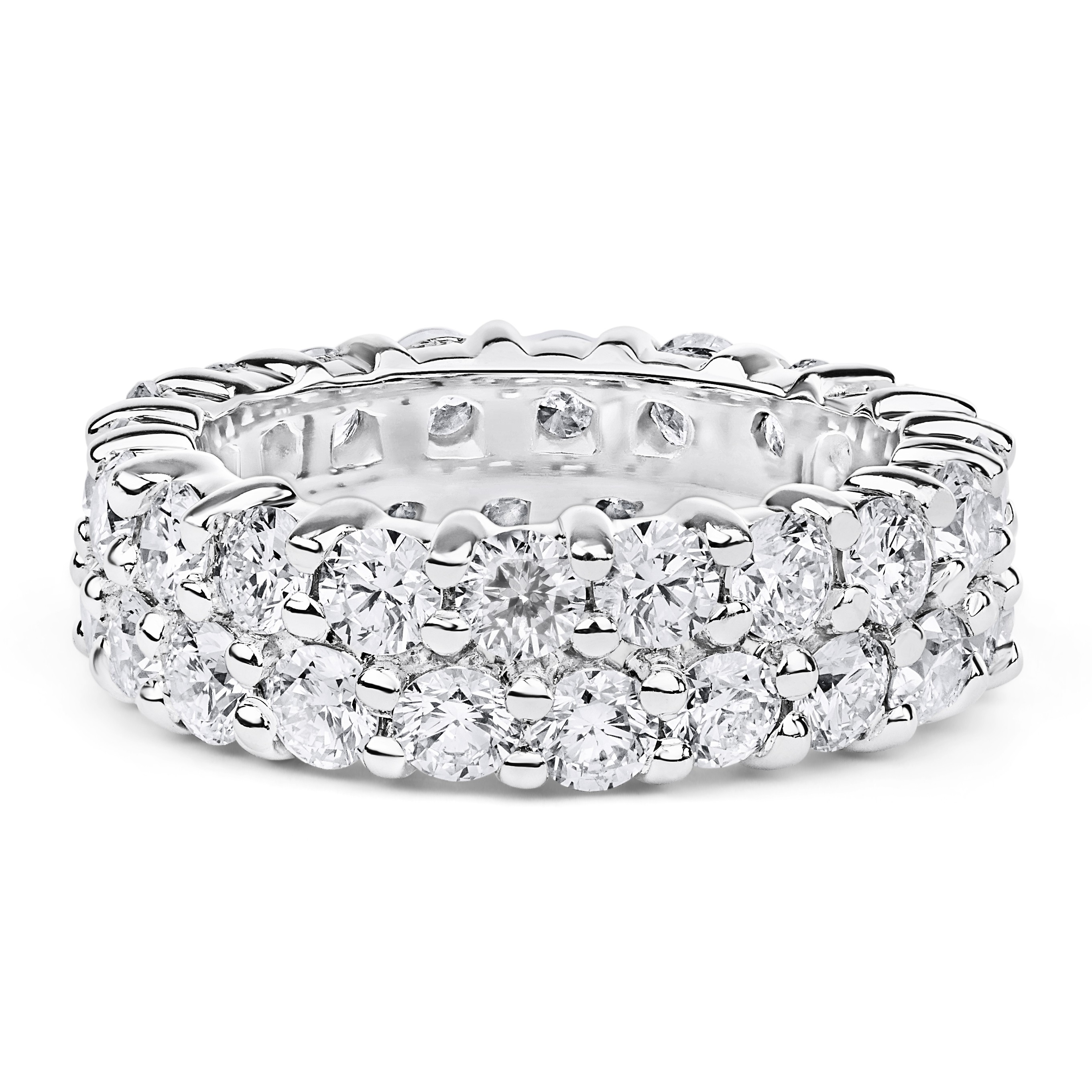 Double Band Diamond Eternity Ring In 14K White Gold (4.30Ct) Pertaining To 2018 Diamond Double Row Anniversary Bands In 14K White Gold (Gallery 8 of 15)
