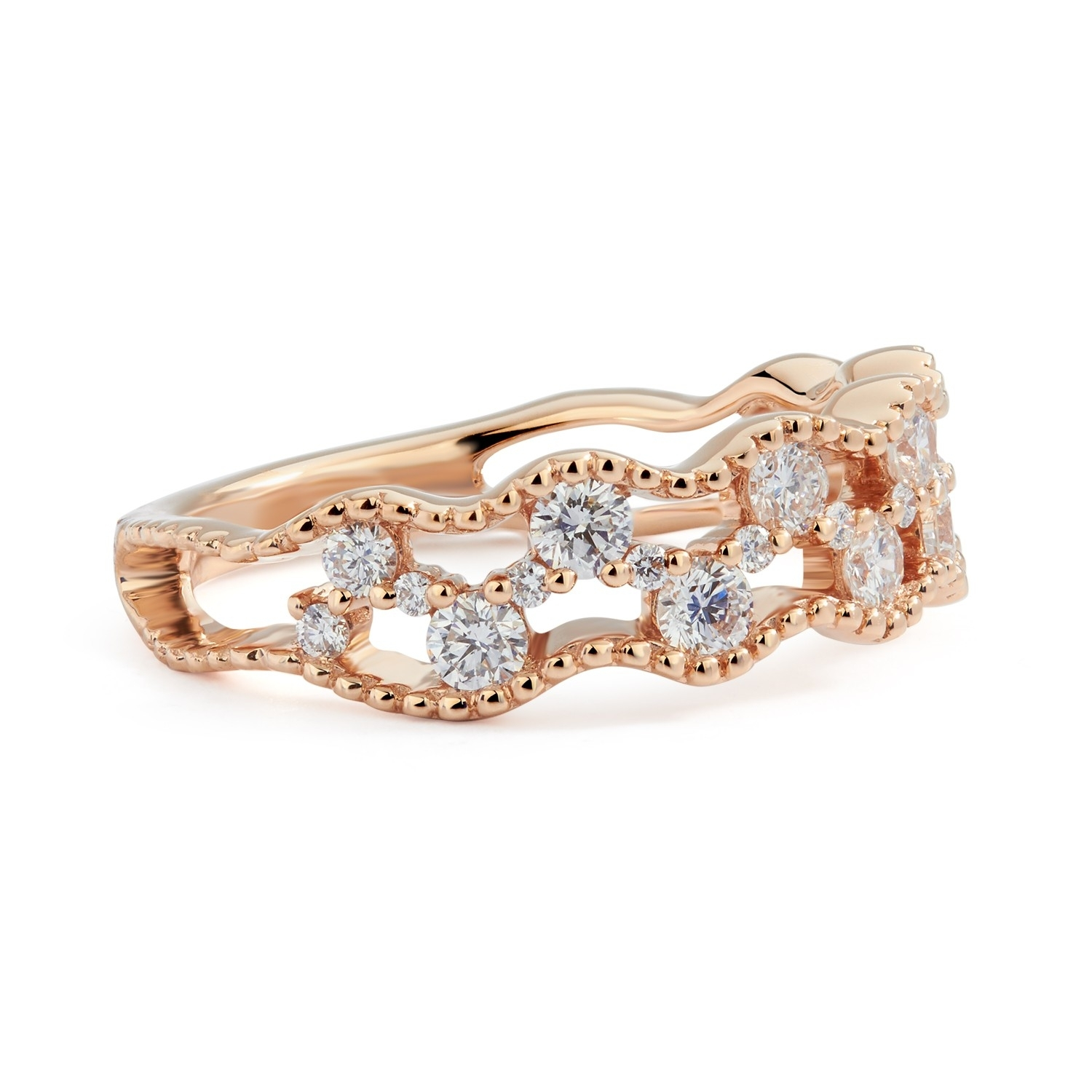 Double Row Diamond Zig Zag Ring In 18K Rose Gold ( (View 8 of 15)