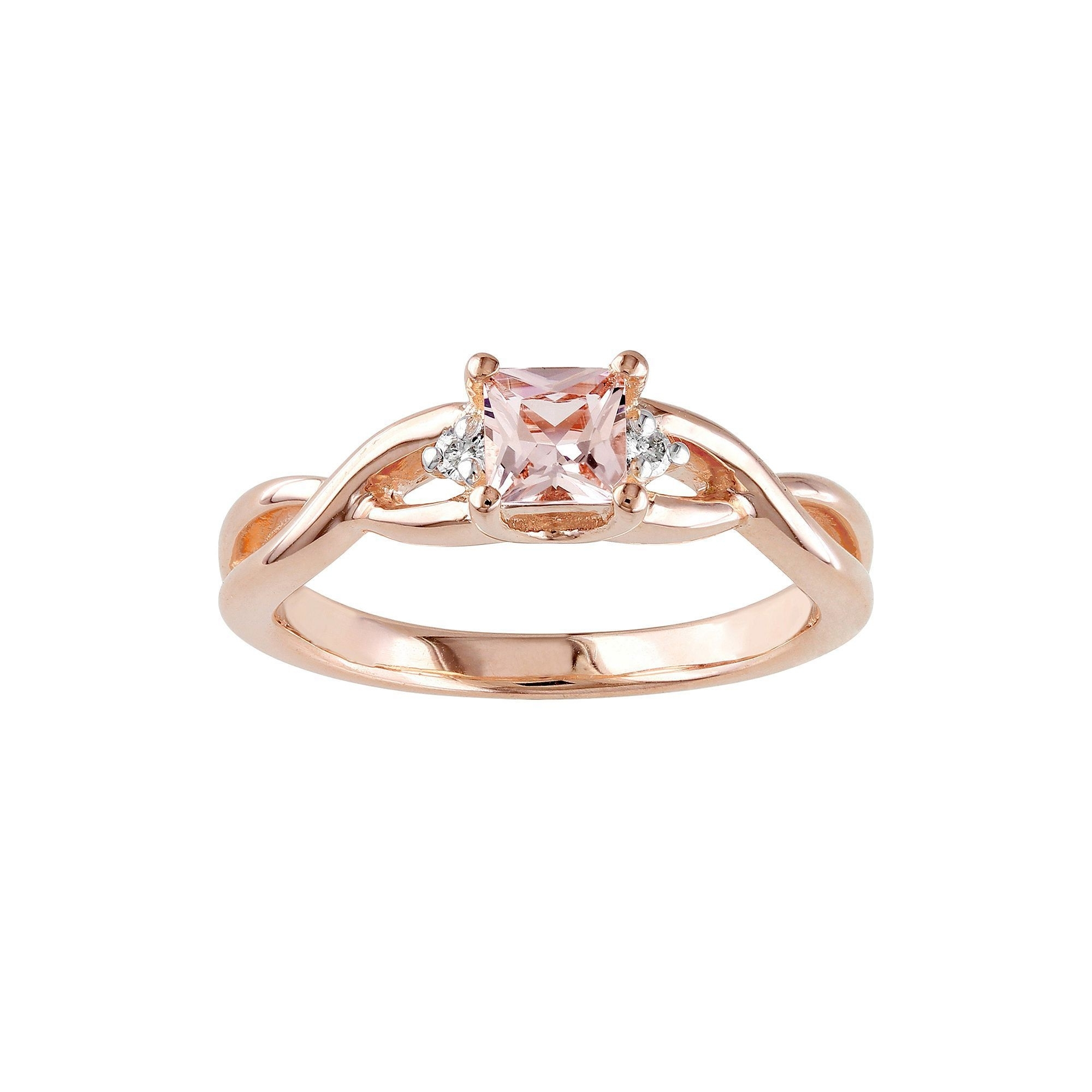 Elegant Diamond Infinity Rings Within Stella Grace Rose Rhodium Intended For Newest Diamond Wedding Bands In Sterling Silver With Rose Rhodium (View 8 of 15)
