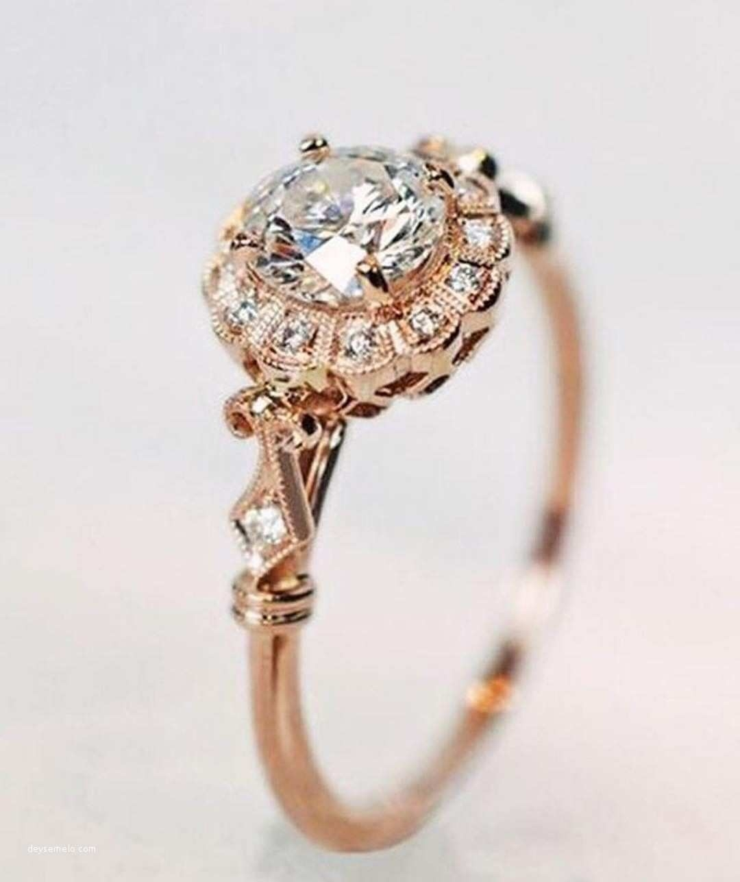 Elegant Intricate Engagement Rings From Rose Gold Engagement Ring For Most Recent Gold Vintage Style Diamond Rings (Gallery 8 of 15)
