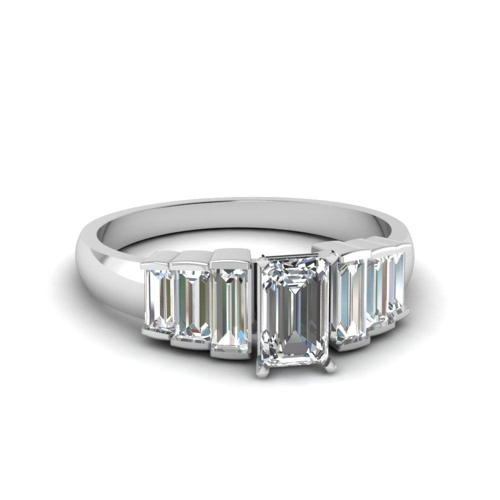 Emerald Cut Baguette Diamond Accents 7 Stone Engagement Ring In 14K Inside 2017 Emerald And Diamond Seven Stone Wedding Bands In 14K Gold (View 11 of 15)