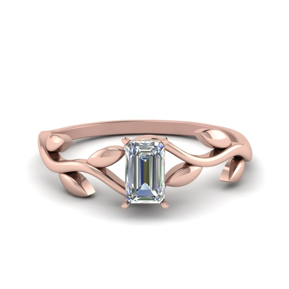 Emerald Cut Nature Inspired Single Diamond Leaf Engagement Ring In Pertaining To Best And Newest Emerald And Diamond Three Row Reversible Anniversary Bands In 14K Gold (Gallery 7 of 15)