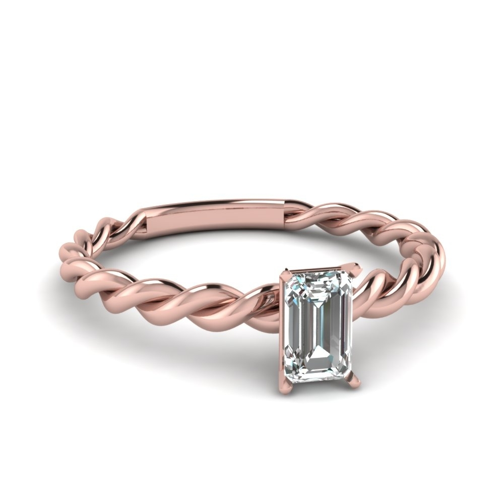 Emerald Cut Solitaire Braided Engagement Ring In 14K Rose Gold Regarding Newest Emerald And Diamond Three Row Reversible Anniversary Bands In 14K Gold (Gallery 8 of 15)