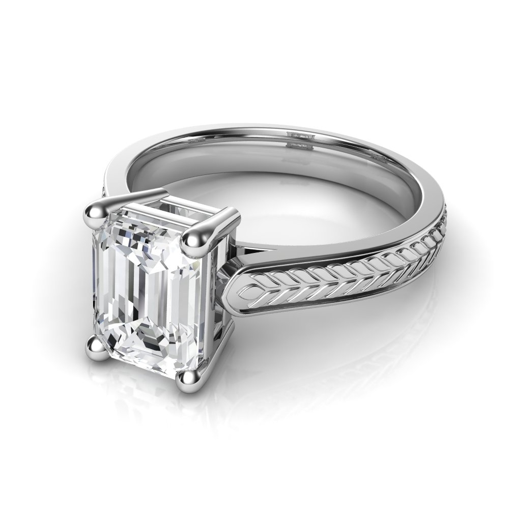 Emerald Cut Solitaire Diamond Engagement Rings Archives – Natalie Throughout Current Vintage Style Diamond Anniversary Rings (View 4 of 15)