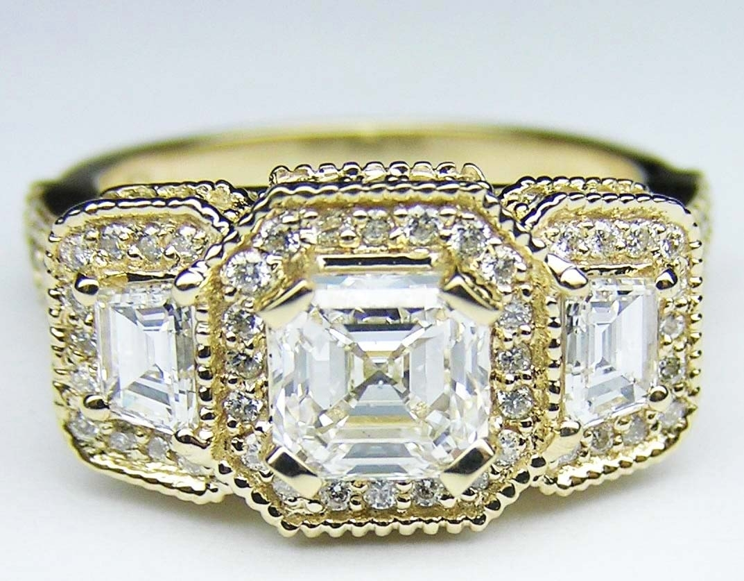 Engagement Ring Asscher Cut Diamond Vintage Style Engagement Ring With Regard To 2018 Diamond Vintage Style Rings (View 8 of 15)