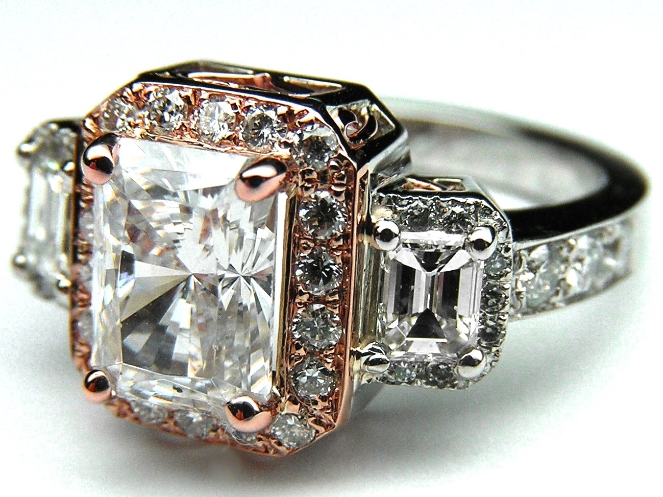 Engagement Ring Three Stone Radiant Cut Diamond Vintage Style Two Intended For Most Recently Released Diamond Vintage Style Rings (View 13 of 15)