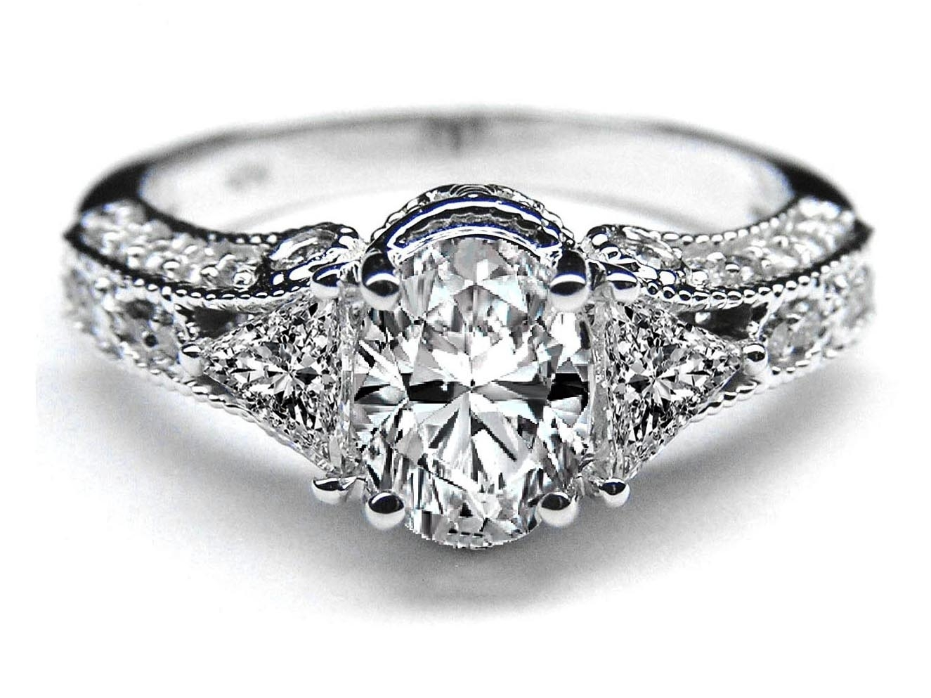 Engagement Ring  Vintage Style Oval Diamond Engagement Ring 0.72 Tcw For Most Current Diamond Vintage Style Rings (Gallery 1 of 15)