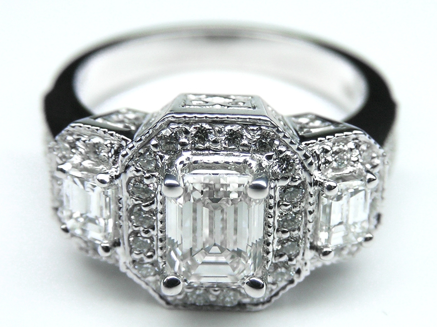 Engagement Ring  Vintage Style Three Stone Emerald Cut Diamond For Most Recent Diamond Vintage Style Engagement Rings (View 7 of 15)