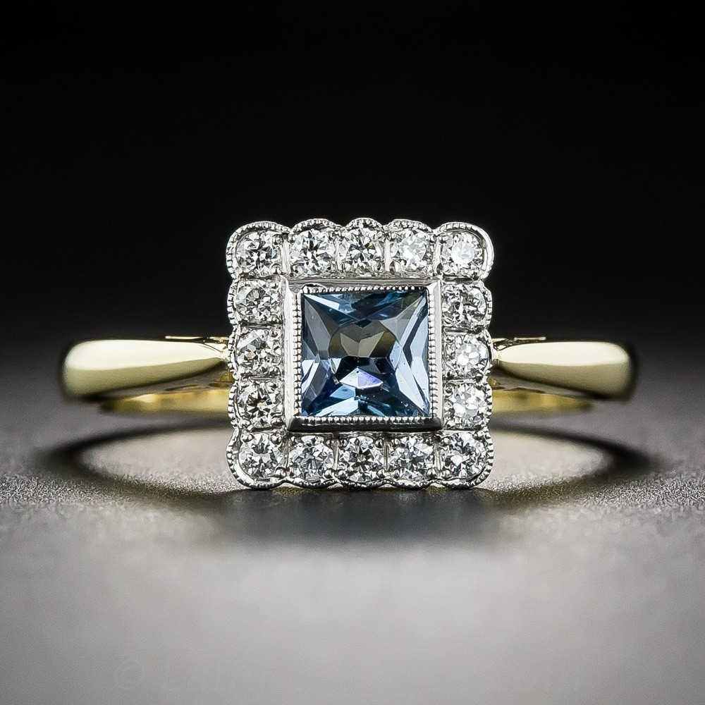 English Aquamarine And Diamond Vintage Style Ring With Regard To 2017 Diamond Vintage Style Rings (View 8 of 15)