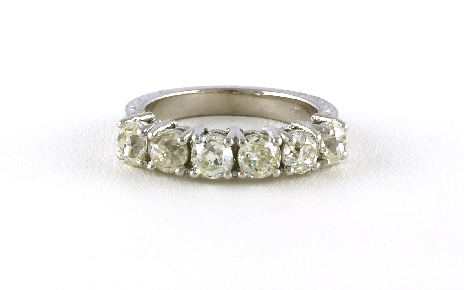 Estate Piece: 6 Stone Antique Style Diamond Ring With Engraving Pertaining To Latest Antique Style Diamond Engagement Rings (Gallery 11 of 15)