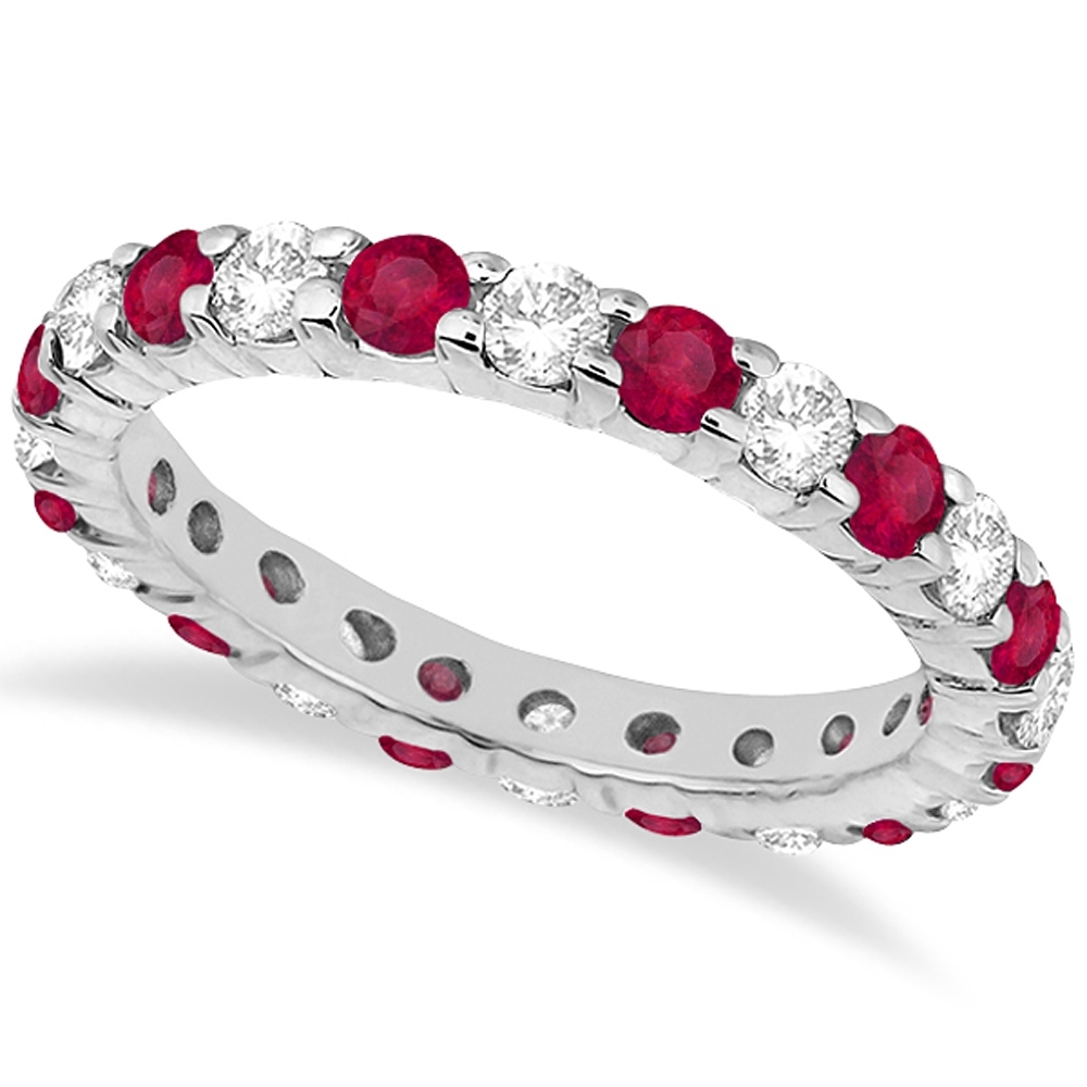 Eternity Diamond & Ruby Ring Band 14K White Gold ( (View 3 of 15)