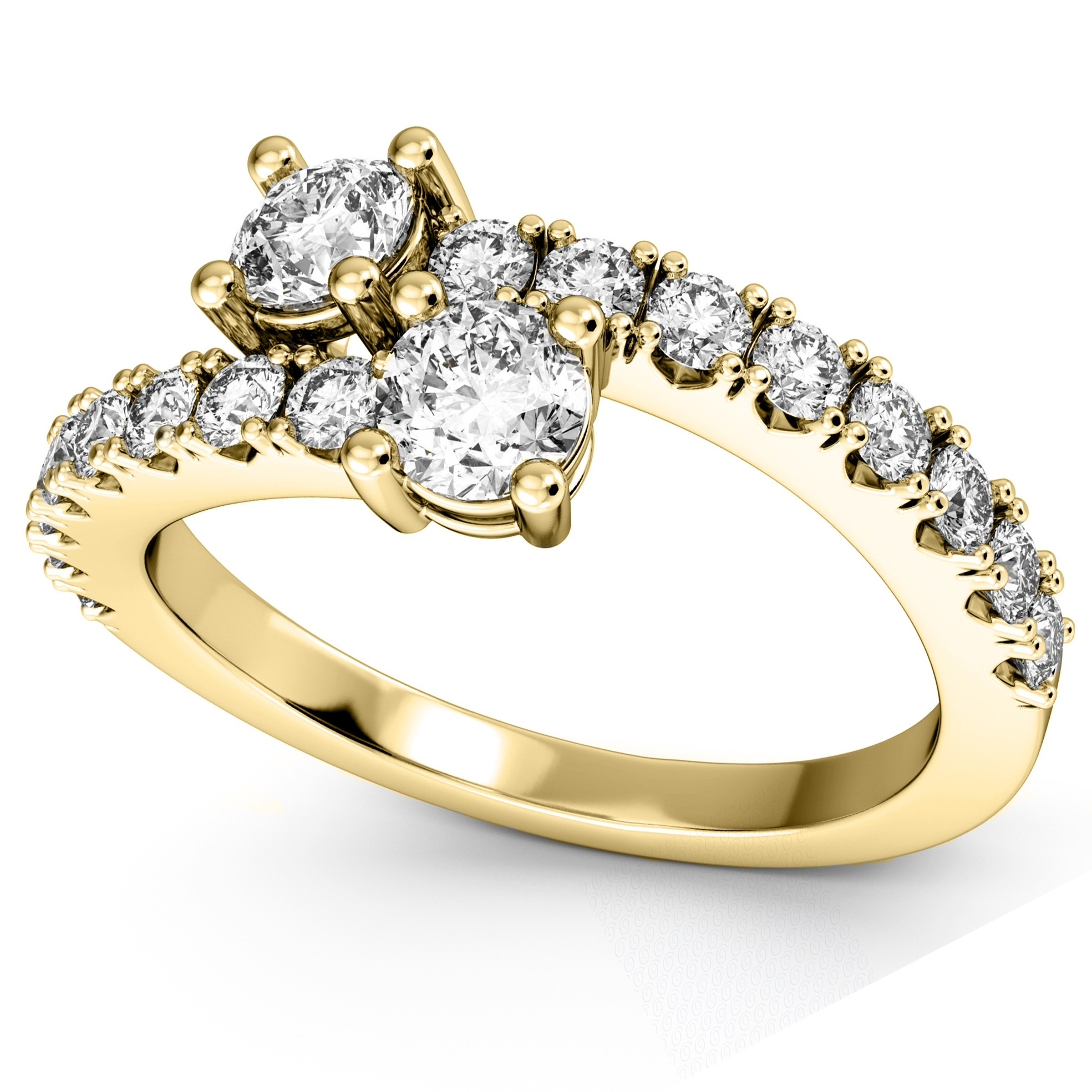 "Ever Us"" Two Stone Diamond Ring With Accents 14K Yellow Gold  (View 9 of 15)"