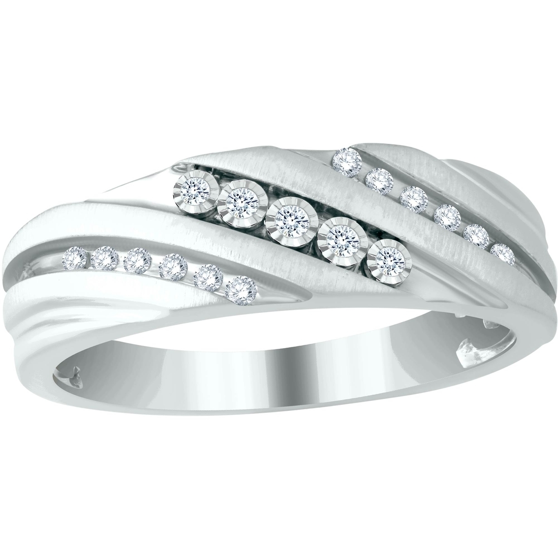 Expressions Of Love 10K White Gold 1/7 Ctw Diamond Slant Band, Size Intended For Most Up To Date Diamond Three Stone Slant Wedding Bands In 10K White Gold (View 5 of 15)