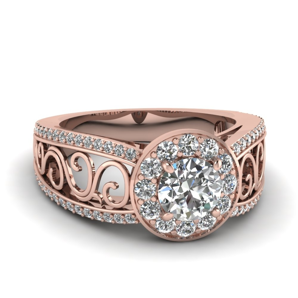 Filigree Vintage Style Halo Split Shank Diamond Engagement Ring In With Regard To Recent Vintage Style Rose Gold Engagement Rings (View 13 of 15)