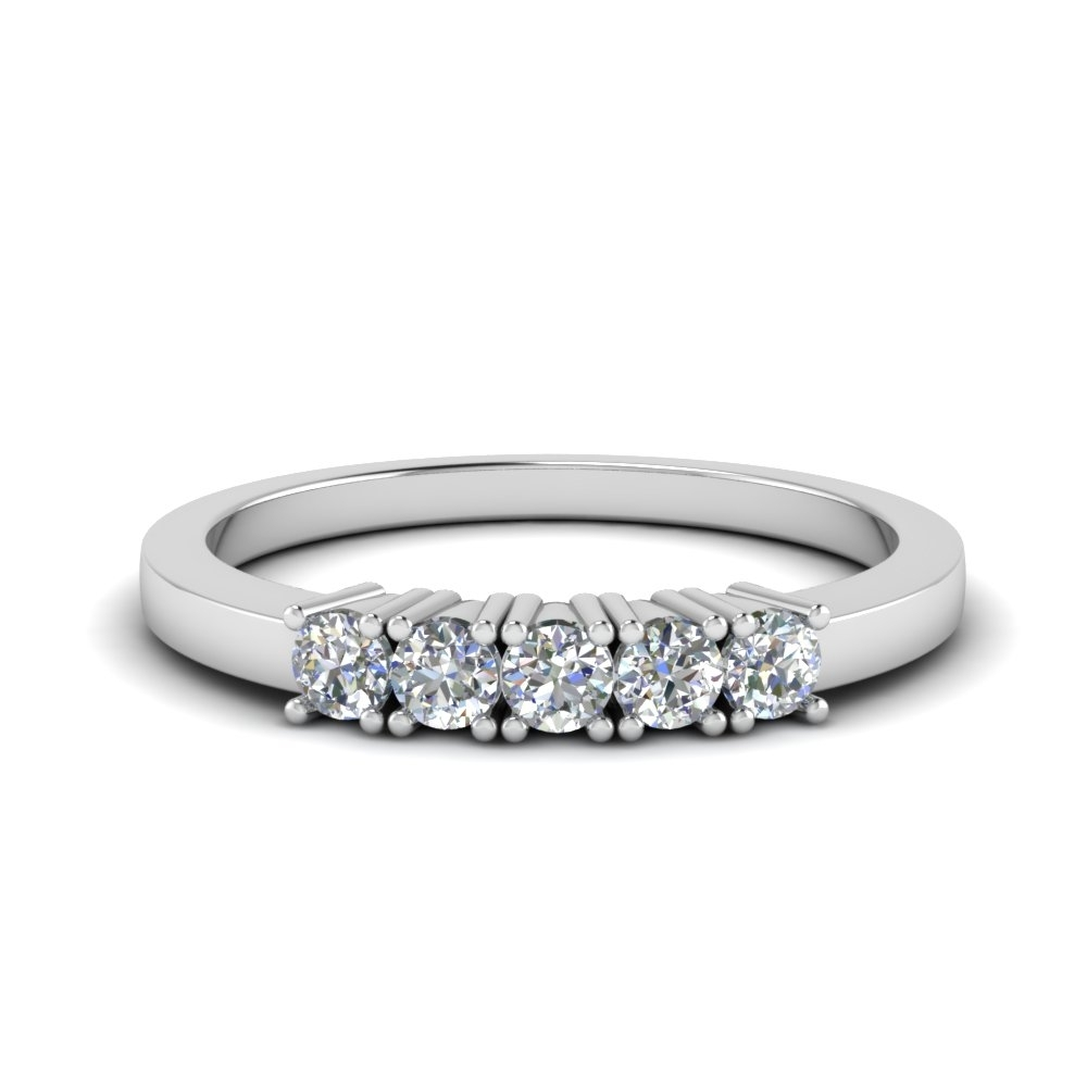 Five Stone Anniversary Band In Sterling Silver | Fascinating Diamonds With Regard To Recent Diamond Anniversary Bands In Sterling Silver (View 4 of 15)