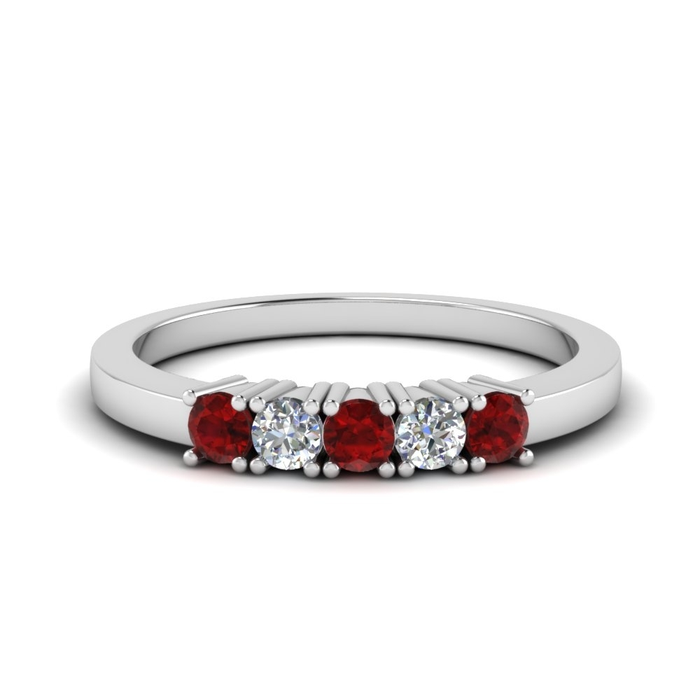 Five Stone Anniversary Band With Ruby In 14K White Gold In Best And Newest Ruby And Diamond Five Stone Anniversary Bands In 14K White Gold (Gallery 1 of 15)