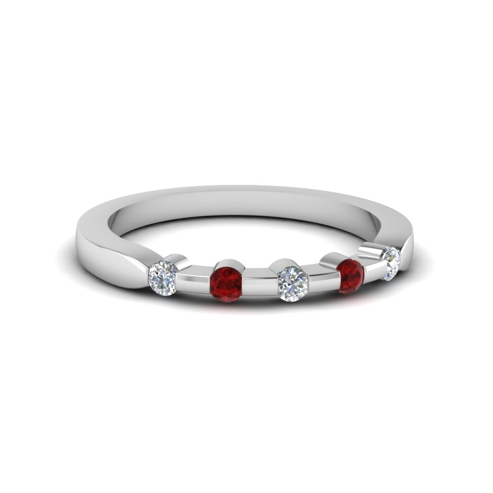 Five Stone Anniversary Wedding Band For Her With Ruby In 14K White For Most Popular Ruby And Diamond Five Stone Anniversary Bands In 14K White Gold (View 6 of 15)