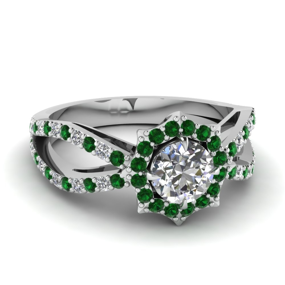 Flower Halo Reversed Split Diamond Engagement Ring With Emerald In With Regard To Best And Newest Emerald And Diamond Three Row Reversible Anniversary Bands In 14K Gold (View 9 of 15)
