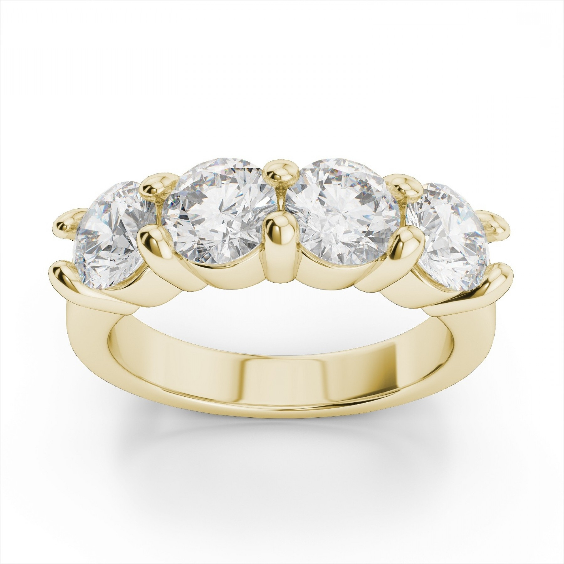 Four Stone Diamond Ring In K Yellow Gold Ctw | Caymancode With Most Recent Ruby And Diamond Five Stone Anniversary Bands In 14K White Gold (View 8 of 15)