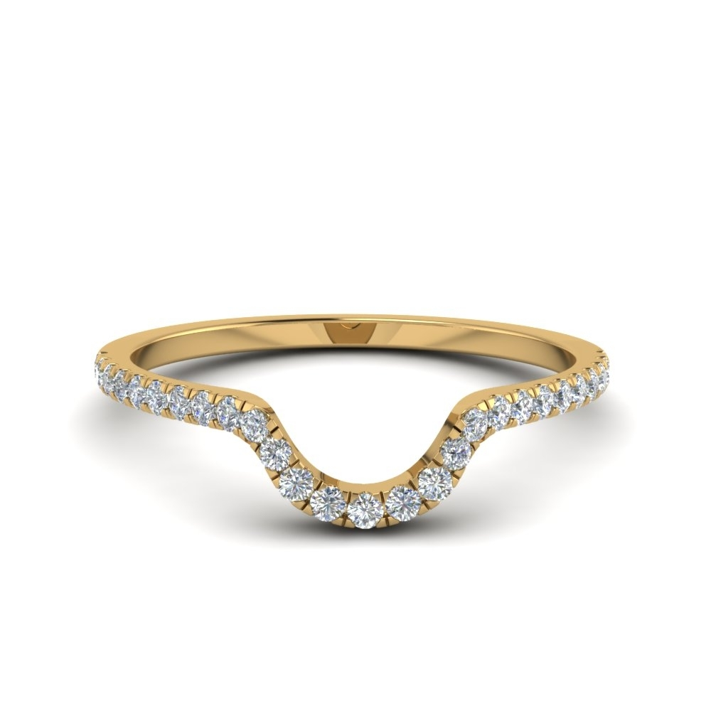 French Pave Diamond Curved Wedding Band In 14K Yellow Gold Regarding Most Popular Diamond Contour Wedding Bands In 14K White Gold (Gallery 3 of 15)