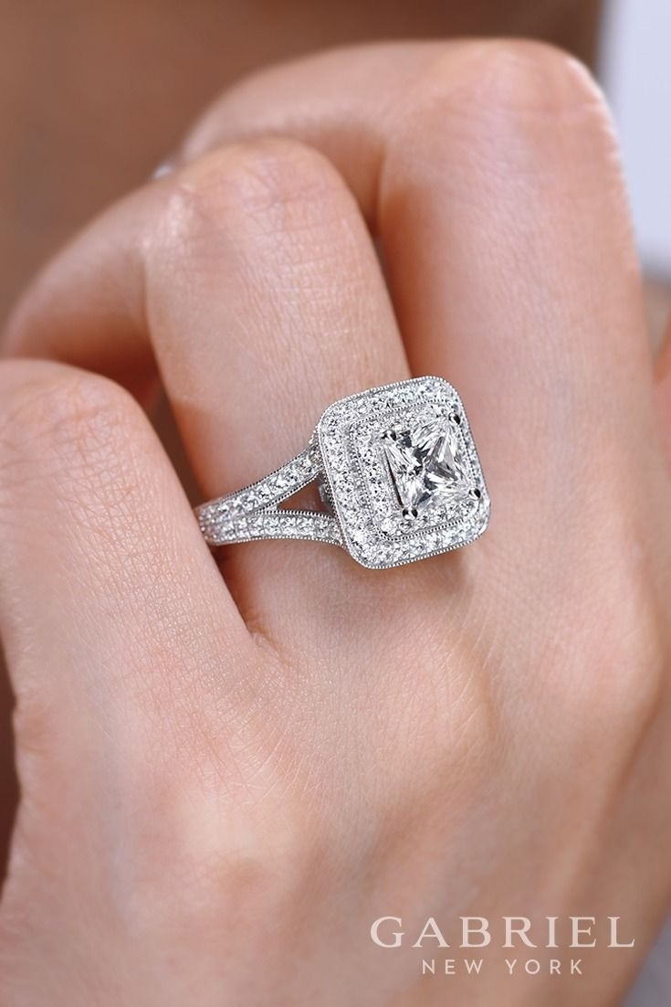 Gabriel – Vintage 14k White Gold Princess Cut Double Halo Engagement Throughout Recent Oval Diamond Double Frame Twist Vintage Style Bridal Rings In 14k White Gold (View 8 of 15)