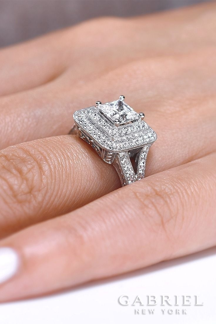 Gabriel – Vintage 14k White Gold Princess Cut Double Halo Engagement With Regard To Newest Oval Diamond Double Frame Twist Vintage Style Bridal Rings In 14k White Gold (View 6 of 15)