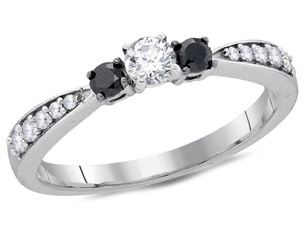 Gem & Harmony: Three Stone Enhanced Black Diamond Engagement Ring 3 In 2017 Enhanced Black Diamond Anniversary Bands In 10K White Gold (View 14 of 15)