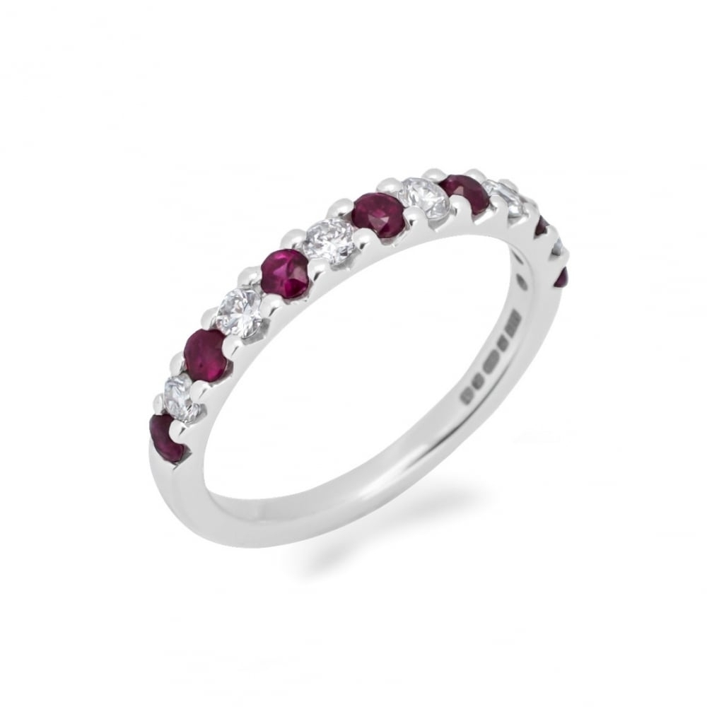 Goodwins 18ct White Gold Ruby And Diamond Half Eternity Ring Within Best And Newest Ruby And Diamond Eternity Bands In Platinum (View 11 of 15)