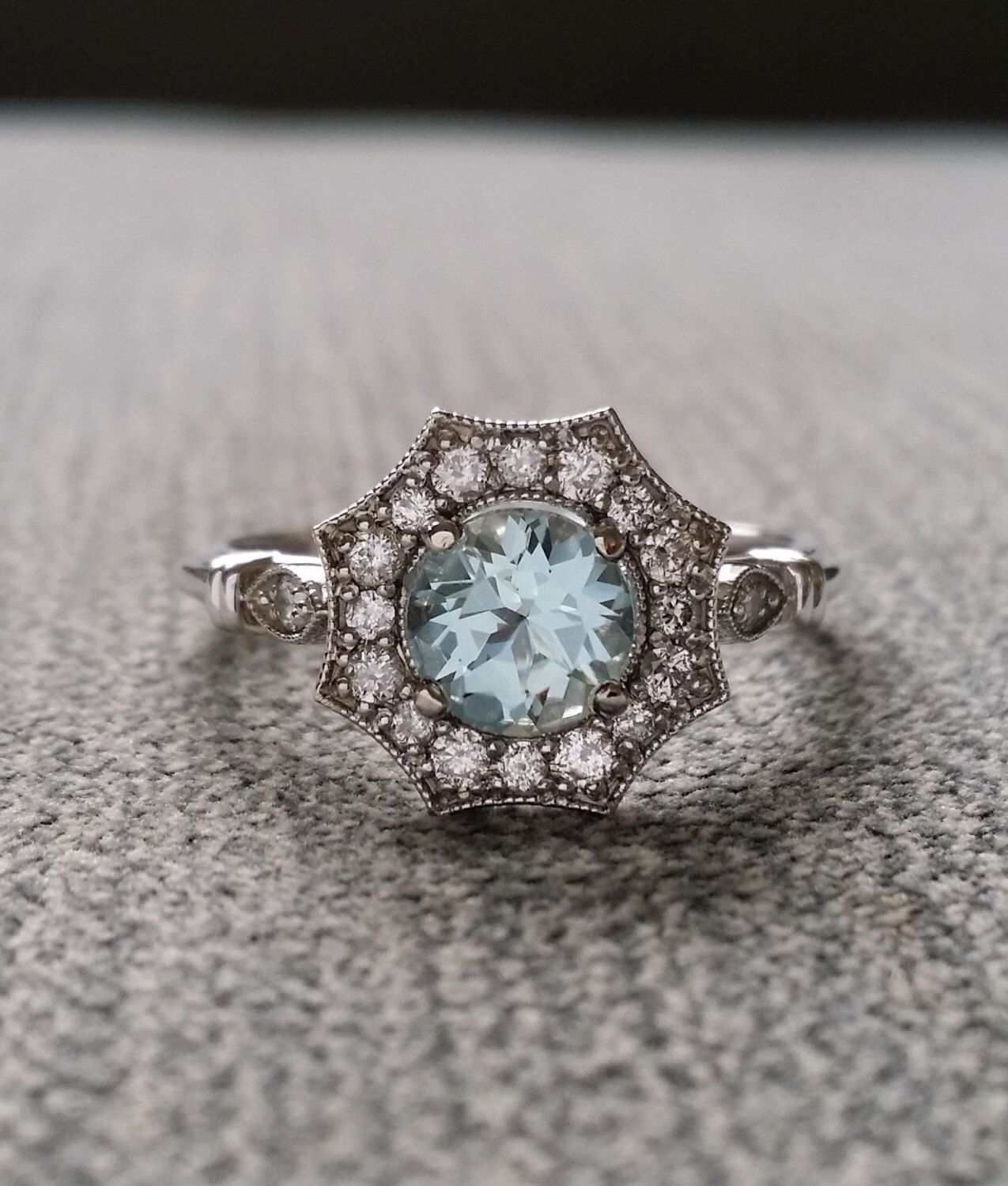 Halo Aquamarine And Diamond Ring Gemstone Engagement Ring Antique Inside 2017 Diamond Octagon Frame Vintage Style Engagement Rings In 14K White Gold (Gallery 10 of 15)