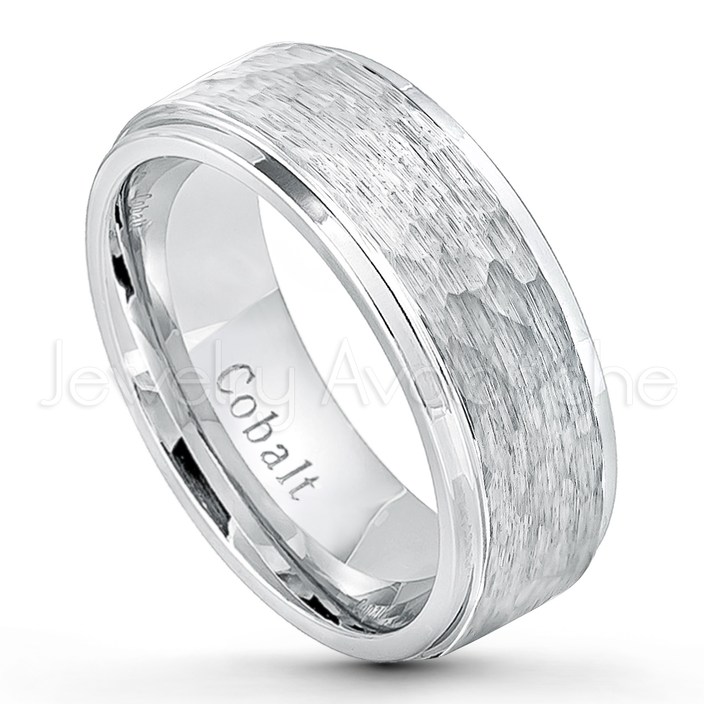 Hammered Finish Cobalt Wedding Band – 9Mm Comfort Fit Stepped Edge Pertaining To Most Popular Diamond Cobalt Three Stone Hammered Rings (Gallery 7 of 15)