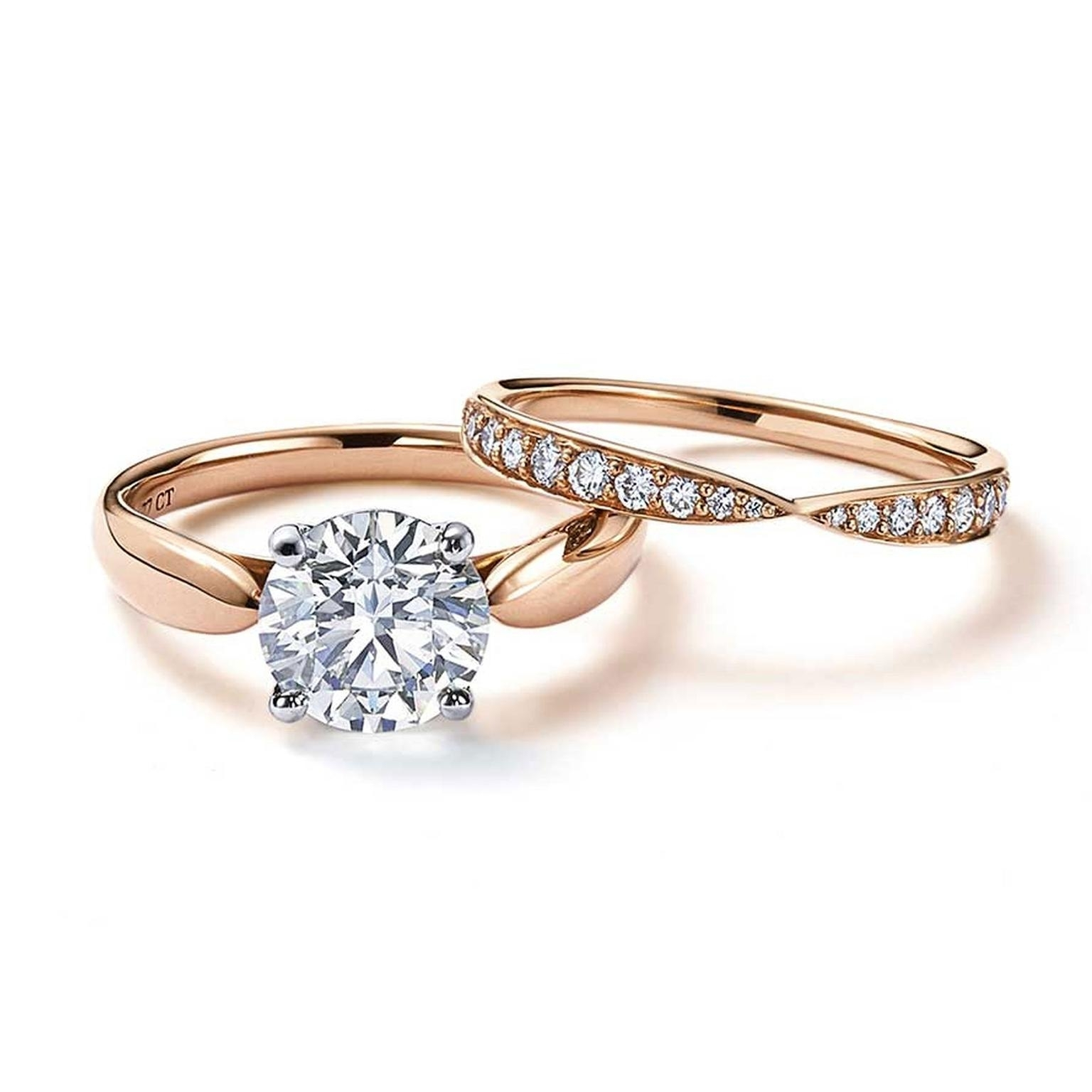 Harmony Rose Gold Engagement Ring With A Central Solitaire Diamond Inside Current Tiffanys Wedding Bands (View 3 of 15)