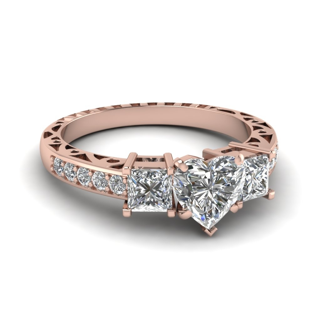 Heart Shaped Vintage 3 Stone Diamond Engagement Ring In 14K Rose With Regard To 2018 Vintage Style Rose Gold Engagement Rings (Gallery 3 of 15)