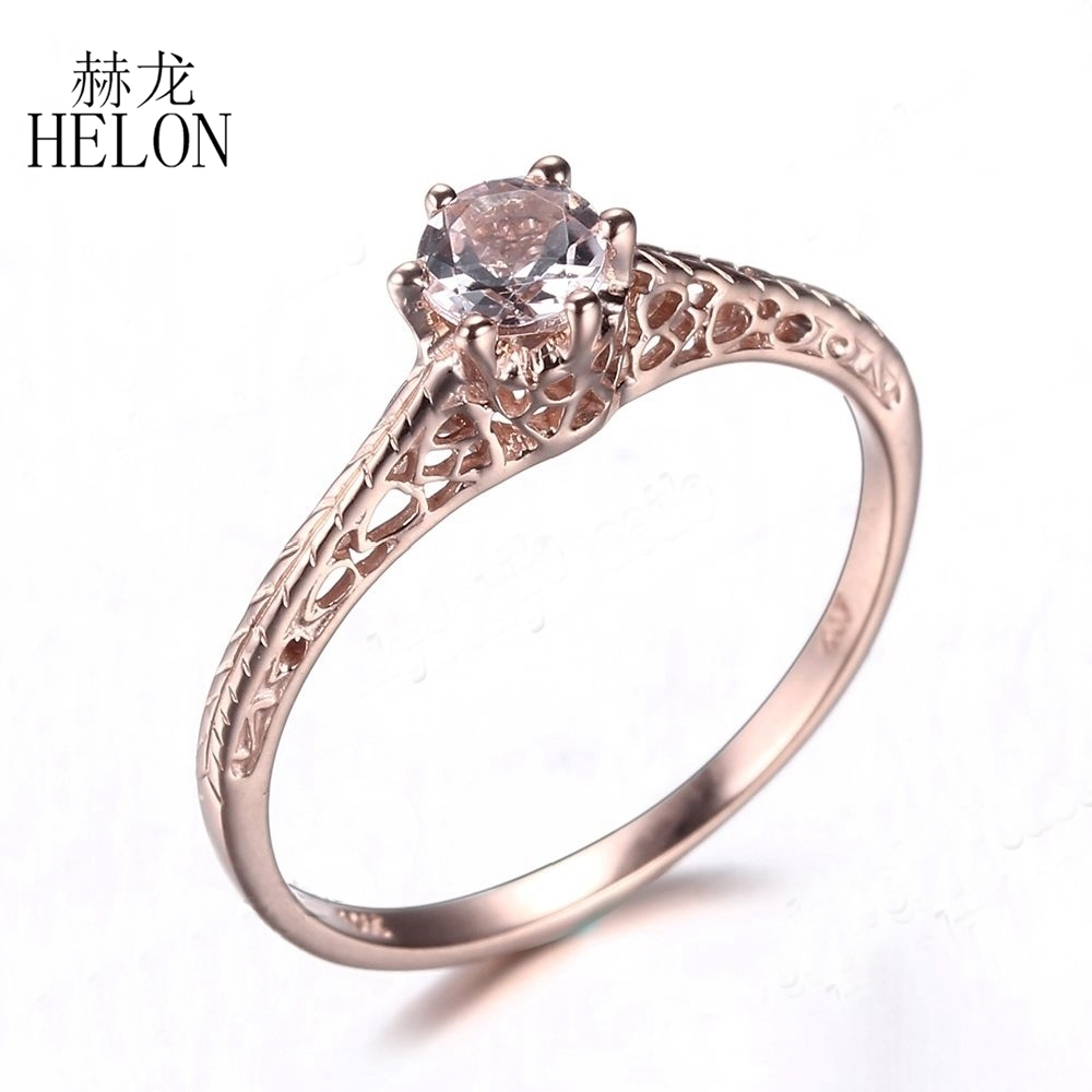 Helon Worth! Art Deco Antique Jewelry Women's Ring Solid 14K Rose With Regard To Best And Newest Diamond Art Deco Vintage Style Anniversary Bands In 10K Gold (Gallery 9 of 15)