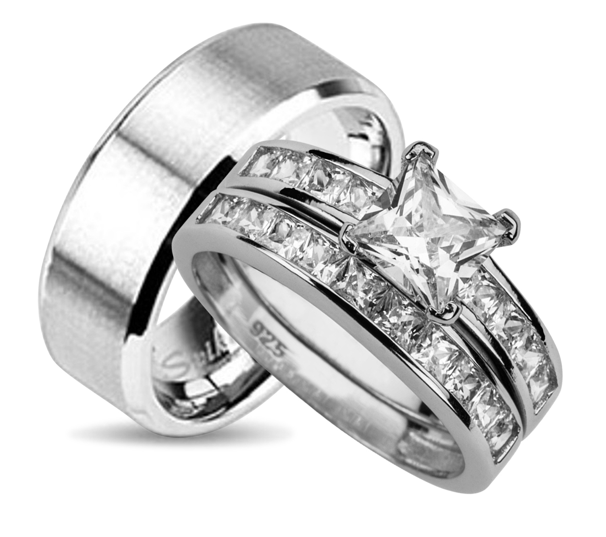 His And Hers Wedding Ring Set Matching Wedding Bands For Him And Her With Regard To Current His And Her Wedding Bands Sets (View 8 of 15)