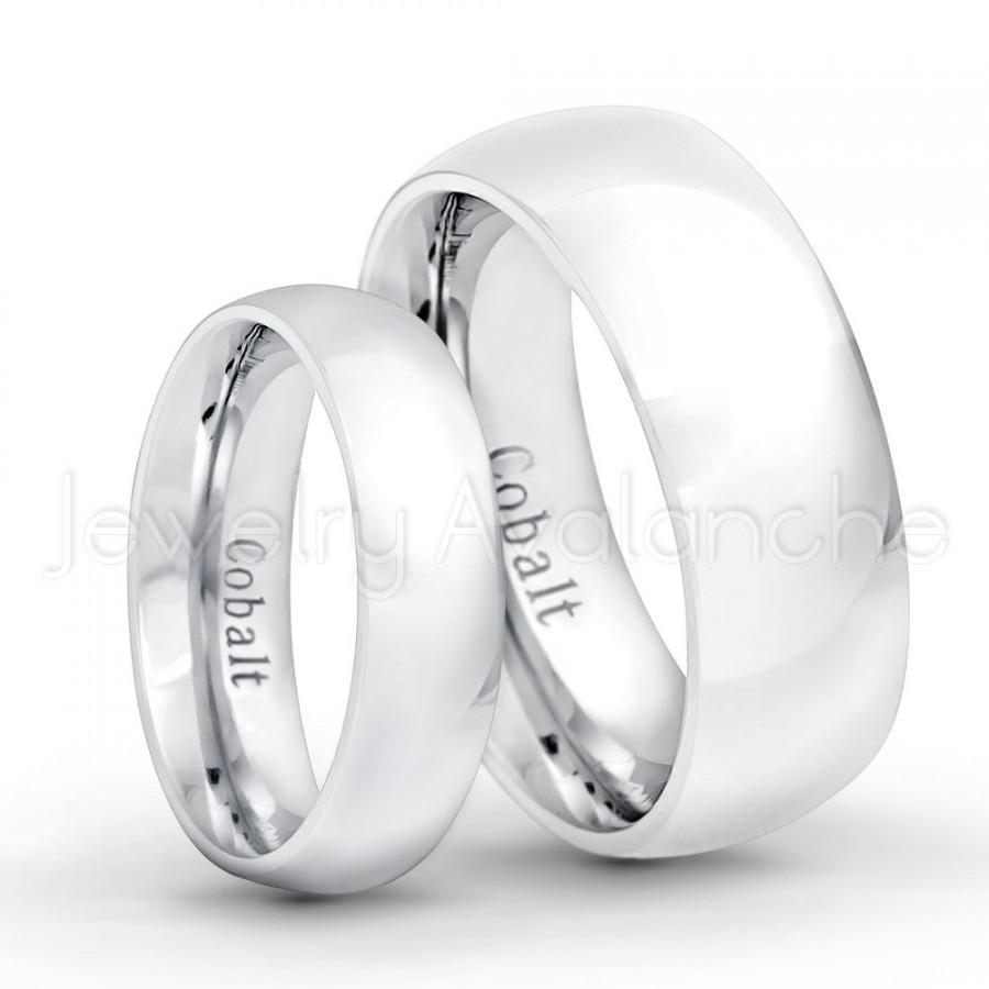 His & Her Wedding Band Set, 8mm / 6mm Polished Finish Classic Dome In 2017 Polished Comfort Fit Cobalt Chrome Wedding Bands (View 4 of 15)